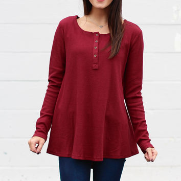 Boyfriend Thermal Knit Blouse {Wine}
