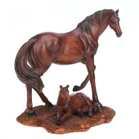Mother And Foal Horse Statue