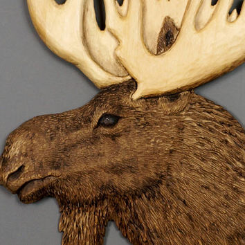 Wooden Moose Wood Carving Linden Tree Hunting Gift by Davydovart for Moose Lovers Rustic OOAK Gift for a Hunter Cabin Decoration Animal Art