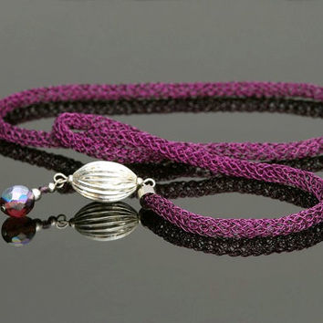 Lariat Necklace, Wire Crochet Long Necklace, Purple Violet Y Necklace with Beads