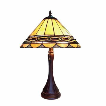 "Gisele, Tiffany-Style 2 Light Baroque Table Lamp 16"" Shade"