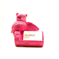 owl business card holder, display, home office, owl decor, craft show display, hot pink