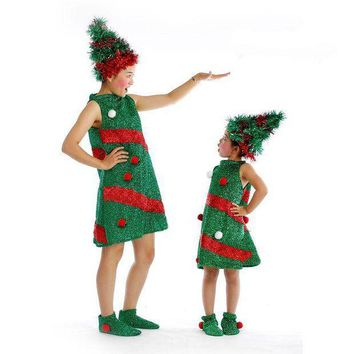PEAPON Cute Children Girls Green Christmas Tree Costume New Year Carnival Cosplay Clothing Fancy Dress Supplies
