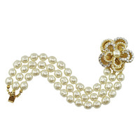 Miriam Haskell Three Row Pearl Bracelet | SOPHIESCLOSET.COM | Designer Jewelry & Accessories