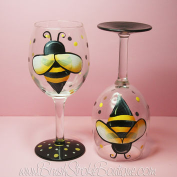 Hand Painted Wine Glass - Buzzy Bee - Original Designs by Cathy Kraemer