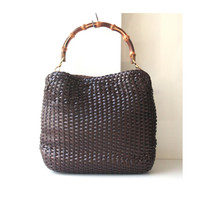Gucci Bag Brown Leather Woven Bamboo vintage authentic tote handbag purse rare