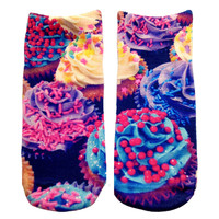 Purple Cupcake Knit Ankle Socks