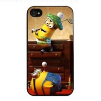 Despicable Me Minion Tim and Dave Playing Golf in Home Fashion Design Hard Case Cover Skin Protector for Iphone 4 4s Iphone4 At&t Sprint Verizon Retail Packing(black Pc+pearlescent Aluminum) Fs-038