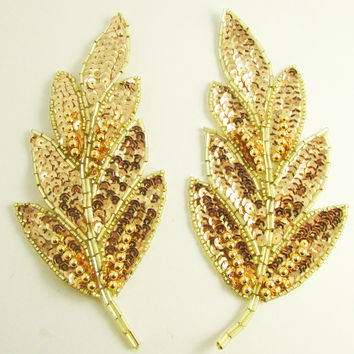 "Leaf Pair with Bright Gold Sequins and Beads 6"" x 3"""
