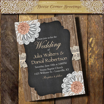 BARNWOOD WEDDING Invitation Doily Flower Country wedding Brunch Rustic Bridal Shower Birthday invitations Surprise any color Peach