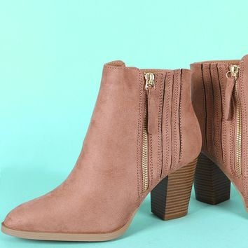 Qupid Suede Almond Toe Chunky Heeled Ankle Boots