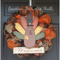 Thanksgiving Wreath, Fall Wreath, Autumn Wreath, Turkey Wreath, Fall Deco Mesh, Fall Decor, Thanksgiving Door Hanger, Burlap Wreath