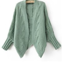 Bat Sleeve Loose Green Cardigan  S002317