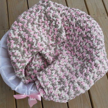 Crochet Baby Blanket, Pink, Cream and Brown Camo Photo Prop, Baby Girl Soft Afghan, Crib Sized Afghan, Handmade Crochet Afghan