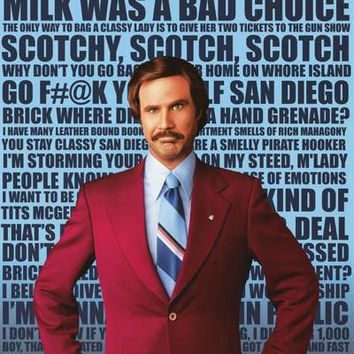 Anchorman Ron Burgundy Quotes Poster 24x36