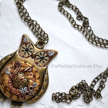 Steampunk Necklace - Steampunk Jewelry - Polymer Clay Necklace - Polymer Clay Pendant -Polymer Clay Jewelry - Mixed Media Jewelry - Clay Owl