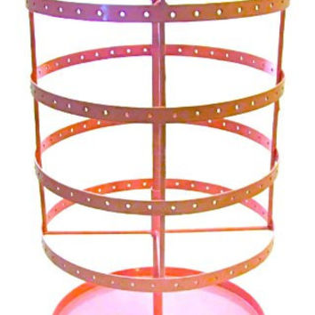 Earring Go Round Spinning Jewelry Storage Stand with Tray, Large, Pink Metal