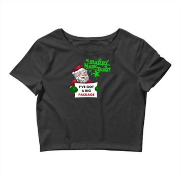 heapy new year funny santa claus christmas Crop Top