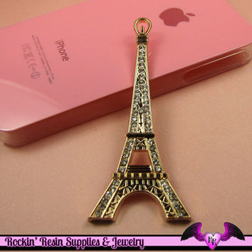 2pc EIFFEL TOWER Paris Crystal Covered Gold Alloy Decoden Cabochon Cellphone Decoration