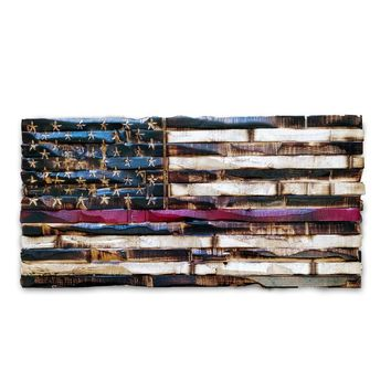 Wood Thin Red Line Flag (Firefighter Flag) 17x9
