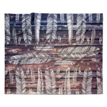 "Suzanne Carter ""Snowflakes And Feathers"" Blue White Fleece Throw Blanket"