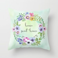 home sweet home-green Throw Pillow by Sylvia Cook Photography