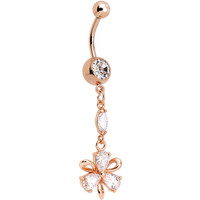 Clear CZ Rose Gold Plated Ribbon Flower Charm Dangle Belly Ring | Body Candy Body Jewelry