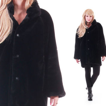 Black Faux Fur Coat Reversible Heavy Thick Warm 80s 90s Vintage Winter Outerwear Hipster Goth Clothing Womens Size Large XL