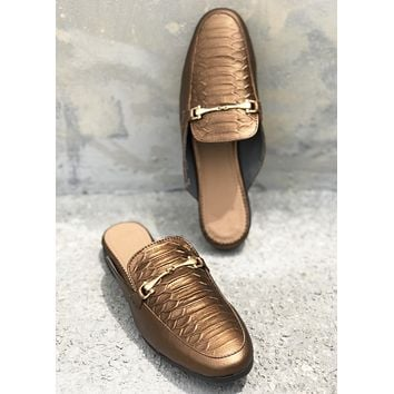 Fabian Leather Loafer Mule - Copper