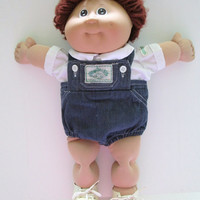 Coleco Cabbage Patch 1984 Doll Boy Auburn Hair Brown Eyes Original Clothes