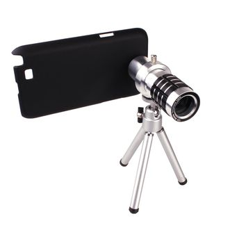 12X Zoom Phone Tripod Telephoto Camera Lens for Samsung Galaxy Note II N7100 Telephoto Camera Lens With Case Cover Kit