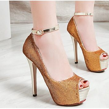 Hot style fish tip head set feet comfortable non-slip super high heels shoes