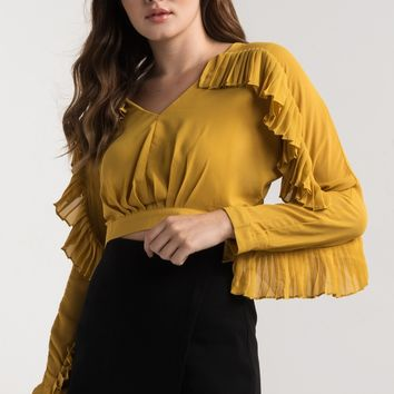 AKIRA V Neck Open Back Floaty Long Sleeve Tiered Top in Mustard, Red