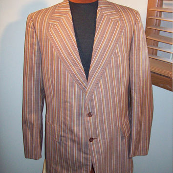 "Vintage 1970s Mens Botany 500 Brown Striped Sports Coat Jacket / Rockabilly Mod / Sz L 48"" Chest"