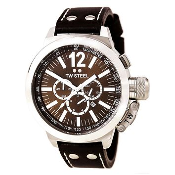 TW Steel CE1012 Men's CEO Canteen Chronograph Brown Dial Brown Leather Strap Watch
