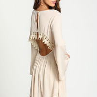 Crochet Crepe Bell Sleeves Dress
