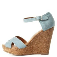 Chambray Crisscross Platform Wedge Sandals