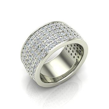 2.50 ct tw Five-row Women's Cocktail Diamond Band 14K White Gold (Ring Size 8)