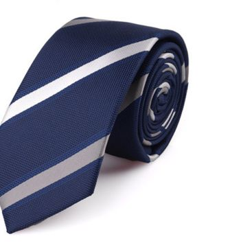 The Regal - Dark Blue Tie with Silver and Gold Stripes