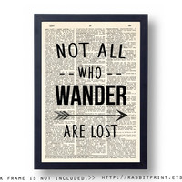 Travel Wall Art Print, Wanderlust Wall Decor, Not All Who Wander Are Lost Dictionary Page Print, Sign, Poster, Graduation Gift