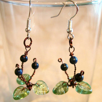 "Dangle Pierced Earrings Lapis Lazuli ""Blue Bead Lily"" Alpine Appalachian Trail Wire Wrapped"