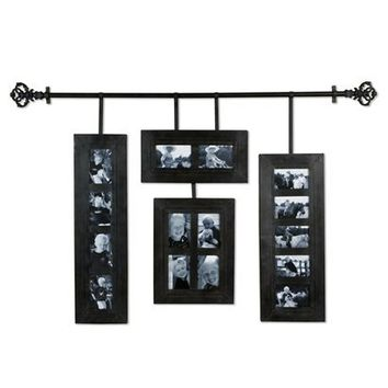 Hanging Collage Frames with Decorative Iron Rod