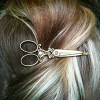 Beautiful Bronze Scissor shears Necklace with matching Bobby pin gift / present / hairdresser / hair stylist