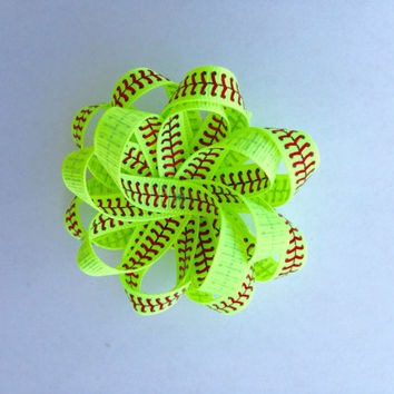Softball flower loop hair bow-Softball hair accessories-Softball handmade hair bow-Softball mom-Fastpitch softball-Softball Lover
