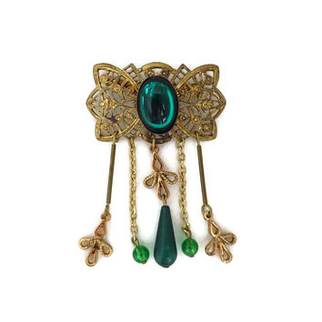Vintage Gold & Green Dangling Bead Brooch, Mid-Century Gold Tone Filigree Pin