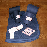 Equine Full Set - Navy with Pink Quatrefoil Diamond Applique