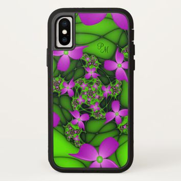 Modern Neon Pink Green Fractal Flowers Monogram iPhone X Case