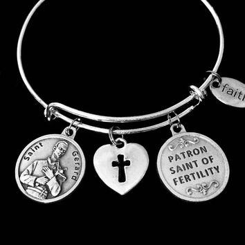 Fertility Jewelry Saint Gerard Expandable Charm Bracelet Adjustable Silver Bangle Patron Saint of Children Expectant Mothers Childbirth Double Sided One Size Fits All Gift