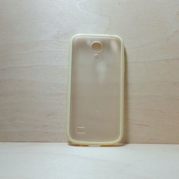 Samsung Galaxy S4 (Mini) Case Silicone Bumper and Translucent Frosted Hard Plastic Back - Yellow