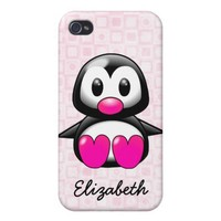 Cute Pink Penguin Personliaze Name Cover For iPhone 4